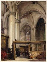 Het interieur van de Nieuwe Kerk. Aan de zijkant van het koor