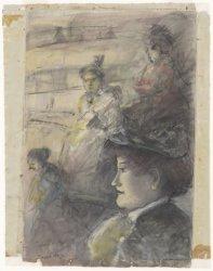 Dames in theater Carré, Amstel 115-125. Techniek: zwart krijt en penseel in kleu…