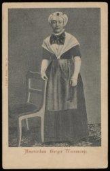 Een Weesmeisje in werkkleding in het Burgerweeshuis, Kalverstraat 92
