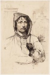 Portret van een schoorsteenveger. Getekend door Frans Schikkinger