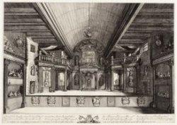 Interieur van de oude schouwburg aan Keizersgracht 384, gezien naar het toneel. …