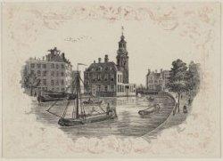 Singel, gezien naar Muntgebouw en Muntplein. Litho in zwart in ornamentale rand …