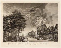 Gezigt van den Brand der Luthersche Nieuwe kerk te Amsterdam Op den 18 September…
