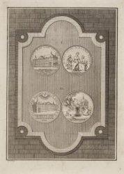 Afbeelding van vier gedenkpenningen van het oprichten van het Luthersche Diaconi…