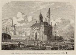 De Utrechtspoort met het begin van de bouw van het Paleis voor Volksvlijt  op he…