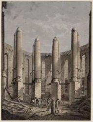 Interieur van de Ronde Lutherse Kerk na de brand van 18 september 1822, gezien v…