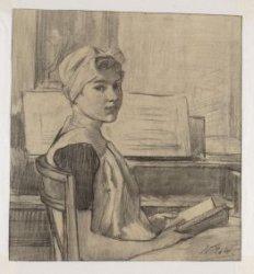 Burgerweesmeisje in het  Burgerweeshuis. Techniek: zwart krijt op grauw papier