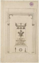 Het grafmonument van J.C.J. van Speyk in de Nieuwe Kerk. Techniek: ets
