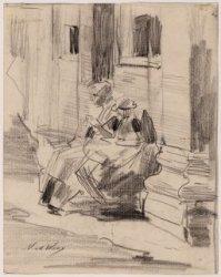 Exterieur van het Burgeweeshuis, Kalverstraat 92, met studie van twee zittende w…