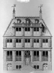 Singel 548, bouwtekening vooraanzicht van het huis van Johan Huydecoper, archite…