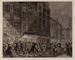Plundering van het koffijhuis Quincampoix. In den kalverstraat te Amsterdam; den…