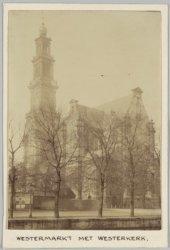 De Westermarkt met de Westerkerk, gezien over de Keizersgracht