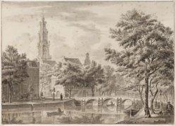 De stenen brug over de Keizersgracht, voor de Westermarkt