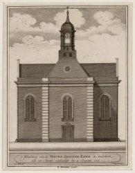 Afbeelding van de Nieuwe geboude kerke te Ouderkerk aan de Amstel, ingehuldigd d…