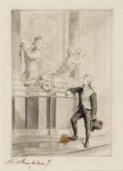 De jonge Van Speijk bij het praalgraf van admiraal Michiel de Ruijter in de Nieu…