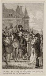 R.W.Tadama kondigt, te Amsterdam, den Vrede en Verbintenis met de Franschen aan