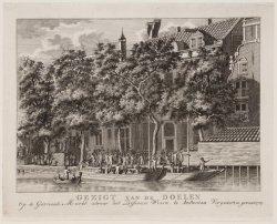 Gezigt van de Doele. Op de Garnaale Markt, alwaar het Defenzie Wezen te Amsterda…