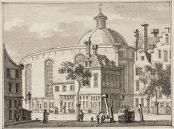 Ronde Lutherse Kerk. De achterkant van de Ronde Lutherse Kerk, Singel 11