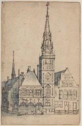 Dam westzijde met Oude Stadhuis, voor het afbreken van de torenspits in 1615,  l…
