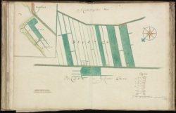 Kaart (rechtsboven genummerd) 30 van kaartboek C van het Burgerweeshuis met vier…