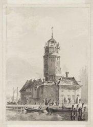 De Haringpakkerstoren kort voor de afbraak in 1829, gezien van de Zaandammer-ste…