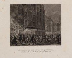 Plundering van het koffiehuis Quincampoix, in de Kalverstraat te Amsterdam; den …