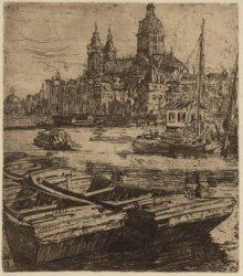 De Schreierstoren en de St. Nicolaas Kerk gezien vanaf de Oostertoegang over het…