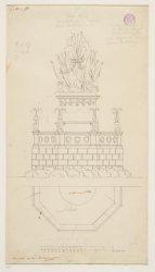 Decoratie op de Westermarkt wegens het bezoek van koning Lodewijk Napoleon. Tech…