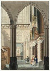 Het interieur van de Nieuwe Kerk met het grafmonument Van Speyk uit 1832