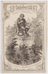 Vondel's Standbeeld, onthuld in het Rij- en Wandelpark te Amsterdam
