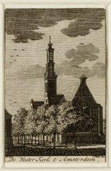 Westermarkt met Westerkerk. Op de voorgrond de Keizersgracht. Techniek: gravure