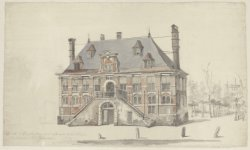 """Opschrift: """"De Eik te Amsterdam voor afbraak verkocht door den Notaris W.P.C. Fa…"""