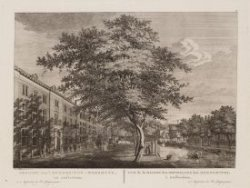 Gezicht van ''t Mennoniten-Weeshuys, tot Amsterdam
