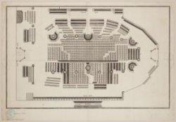 Plattegrond met zitplaatsen in de Nieuwezijds Kapel. Gravure van Daniel Stoopend…