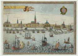 Profiel van Amsterdam. Rechterblad van een prent