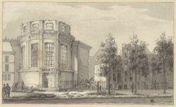 Singel 11. Ruïne van de Ronde Lutherse Kerk na de brand van 18 september 1822. T…