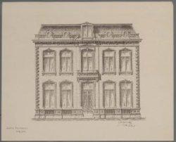 Reproductie naar een ontwerptekening met gevelopstand van een villa met twee woo…