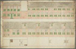 Ontwerptekening met aanzichten en plattegronden voor de bouw van een ongelokalis…