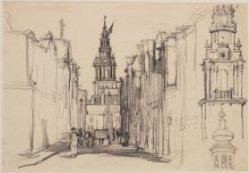 De Jodenbreestraat, met op de achtergrond de Zuiderkerkstoren. Getekend door A.F…