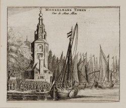 Verzamelblad van vier diverse prenten en twee beschrijvingen van den Montelbaans…