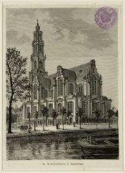 De Westerkerk op de Westermarkt met op de voorgrond de Keizersgracht. Techniek: …