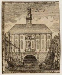 Beurs van Hendrick de Keyser gezien vanaf Rokin richting de Dam. Techniek: ets