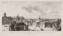 Panoramatisch gezigt op Amsterdam, na de voltooijing van de nieuwe Beurs