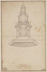 De hemel van de preekstoel van Albert Vinckenbrinck in de Nieuwe Kerk