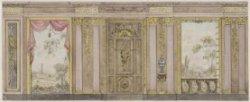 Ontwerp voor een zeer rijk gedecoreerde wand met twee behangselvakken ter weersz…