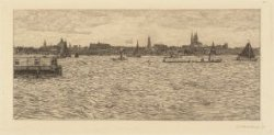 Afgesloten IJ met profiel van Amsterdam, de Ruijterkade en Westerdoksdijk