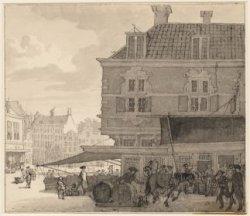 De Dam met rechts vooraan het Huis onder 't zeil, gezien van de Vijgendam naar h…