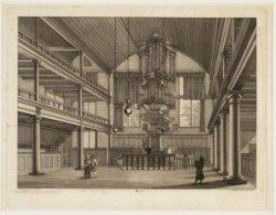 Het interieur van de Remonstrantse kerk, Keizersgracht 102. Techniek: ets