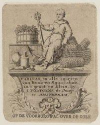 Varinas en alle soorten van Rook- en Snuiftabak, in 't groot en klein, by J. For…
