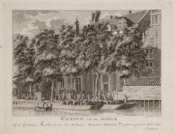 Gezigt van de Doele op de Garnaale Markt, alwaar het Defensie Wezen te Amsterdam…